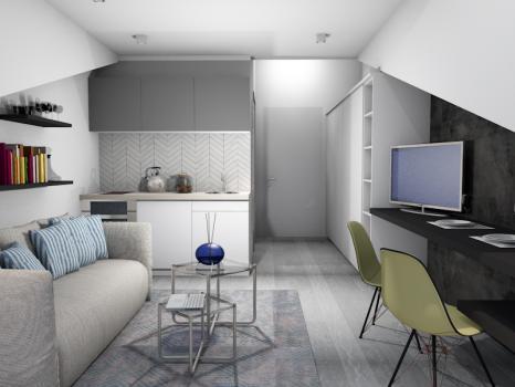 Однокомнатная квартира в Донья Ластва 23м2 на пентхаусе с видом на море